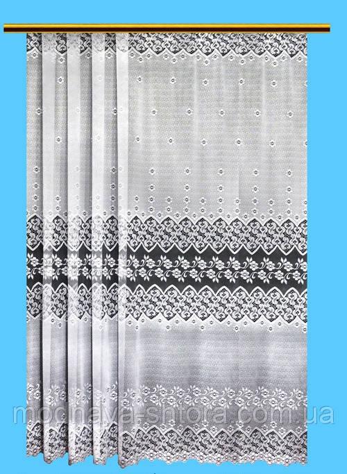 """Жаккардовый тюль """"Фиалковая песня"""" (белый), высота 260 см"""