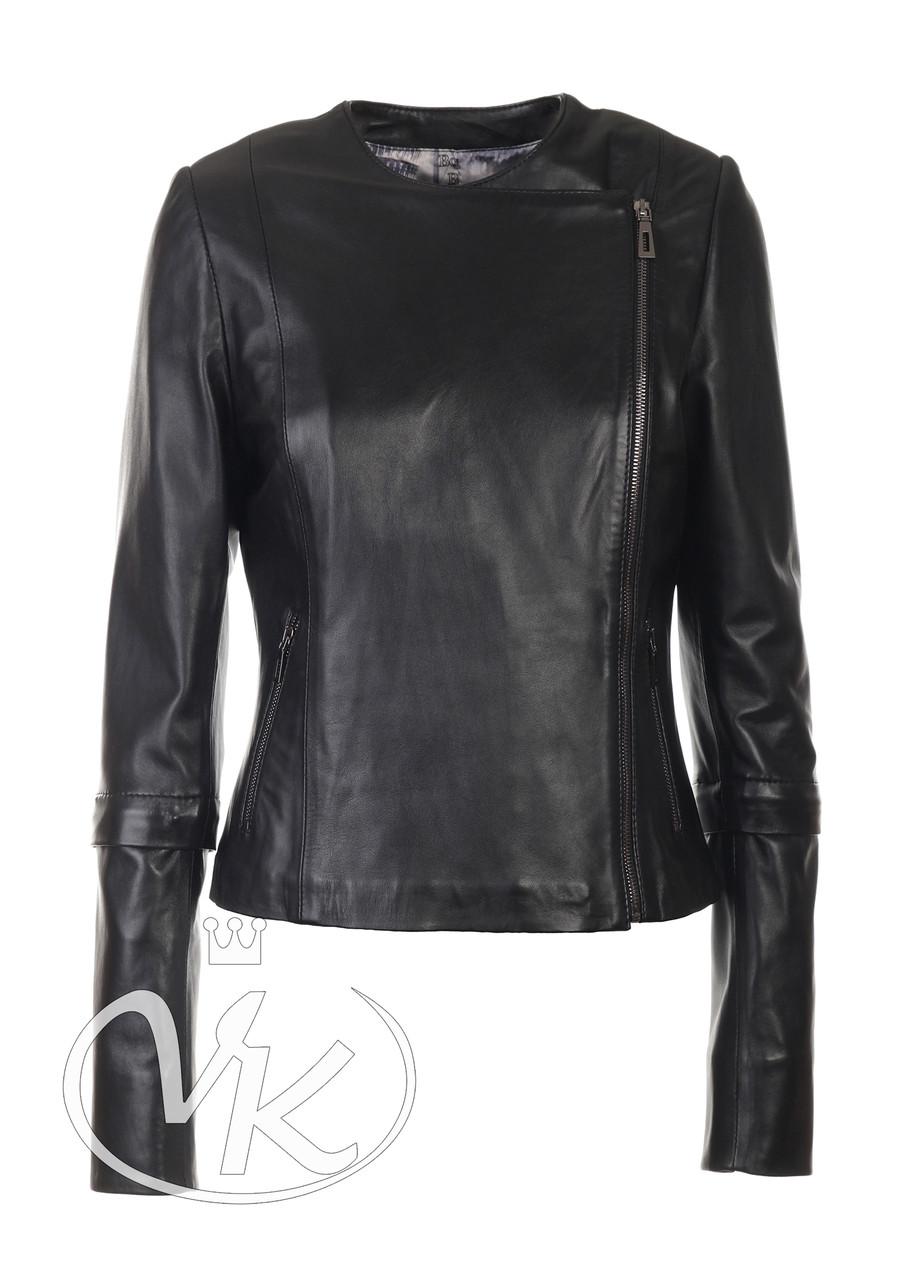Кожаная куртка без воротника женская короткая (Арт. TEX3-201)
