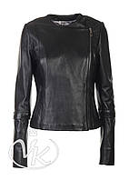 Черная кожаная куртка с отстежным рукавом (размер L)