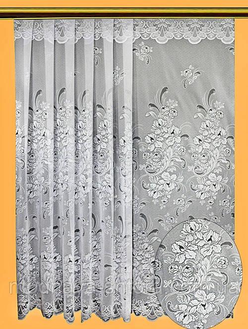 """Жаккардовый тюль """"Петушки-2"""" (белый, с ламбрекеном), высота 280 см"""
