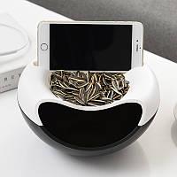 Миска для семечек с подставкой для телефона черно-белая