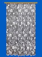 """Жаккардовый тюль """"Нежные лилии"""" (белый), высота 280 см"""