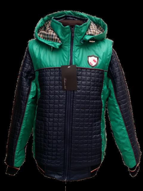 Детская демисезонная куртка-жилетка на мальчика зеленая, р.32-44