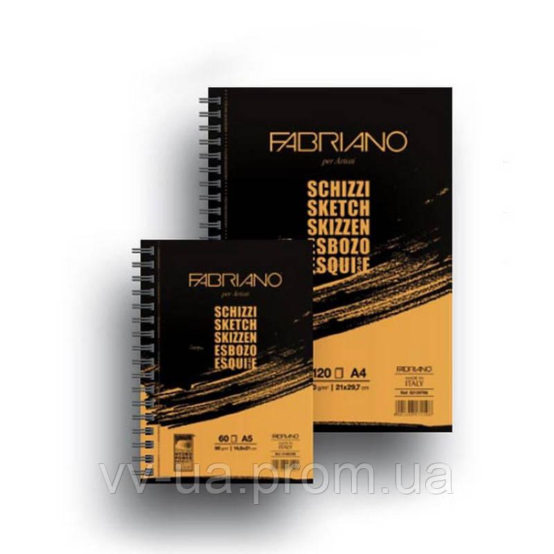 Альбом для эскизов Fabriano Schizzi Sketch на спирали, A4, 90 г/м2, 120 лист.
