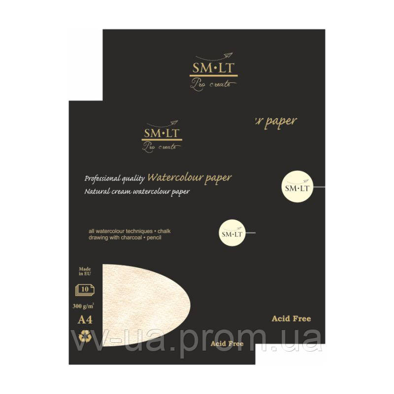 Склейка для акварели Smiltainis Pro Create, A4, 300 г/м2, 10 лист., кремовая бумага (AS-10(300))
