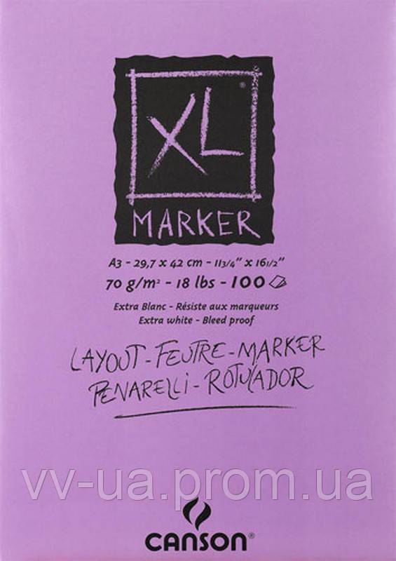 Склейка для маркеров Canson XL, 29,7x42, 70 г/м2, 100 лист., белый цвет, гладкая (CON-200297237R)