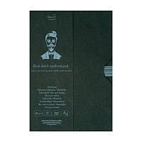 Склейка для рисунка Smiltainis Authentic в папке, A4, 165 г/м2, 30 лист., черная бумага (EA-30/BLACK)