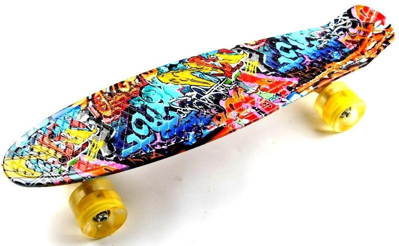 "Penny Board ""Cool Draft 2"" Graffiti Светящиеся колеса Гарантия качества Быстрая доставка"