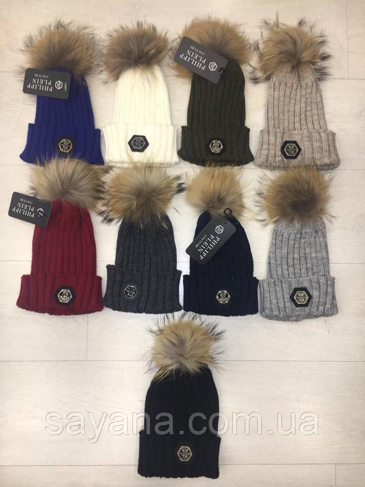 Женская шапка или набор: шапка и шарф в расцветках. Турция. Н-19-0918