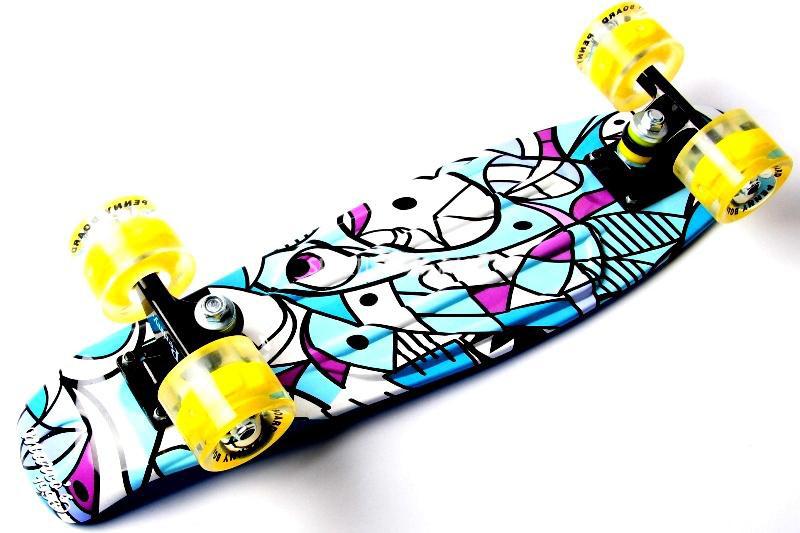 "Penny Board ""Marco's"" Blue 2in1 Светящиеся колеса Гарантия качества Быстрая доставка"