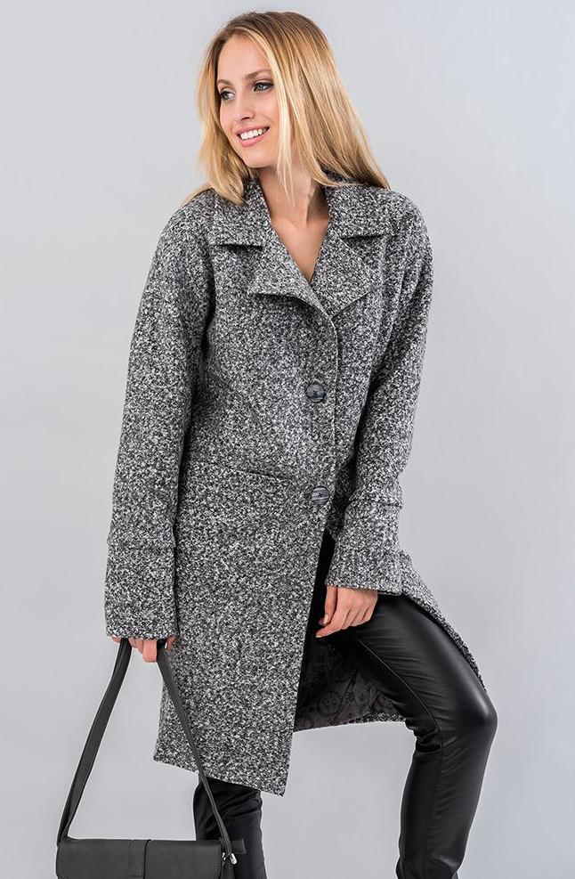 Женское пальто из букле серого цвета. Модель 19551 7c0f1458dec81