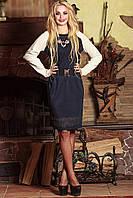 Платье т.синее,орнамент низ и горловина