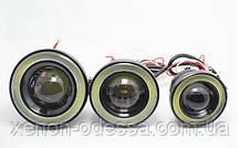 Мощные противотуманные фонари COB LED ПТФ линзы 65 мм + Ангельские глазки, фото 3