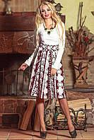 Платье миди белый+бордо