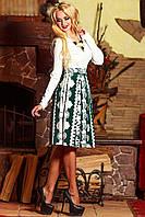 Платье миди белый+бирюза