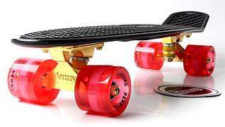 Penny Board Black Logo Золотая подвеска! Светящиеся красные колеса! Гарантия качества Быстрая доставка