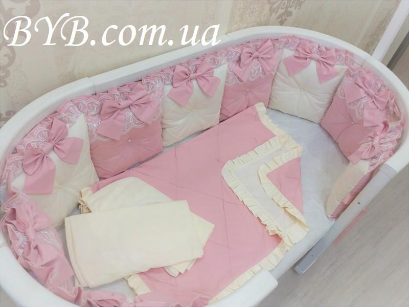 """Комплект постельного белья и бортики """"Молочно-розовый прованс"""""""