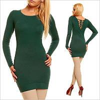 Зеленая туника - платье с округлым вырезом
