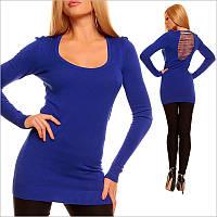 Синяя туника - платье с V - образным вырезом