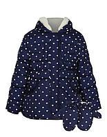 """Теплая зимняя куртка на флисе George """"Юлианна"""" + варежки для девочки, размеры 80см, 86см, 98см, 104см"""