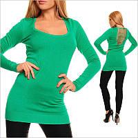Зеленая туника - платье с V - образным вырезом