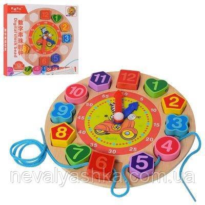 Деревянная игрушка Часы Вкладыш Шнуровка Цифры Пазлы - Часы, MD 1270 009441