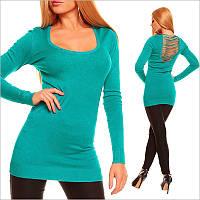 Бирюзовая туника - платье с V - образным вырезом