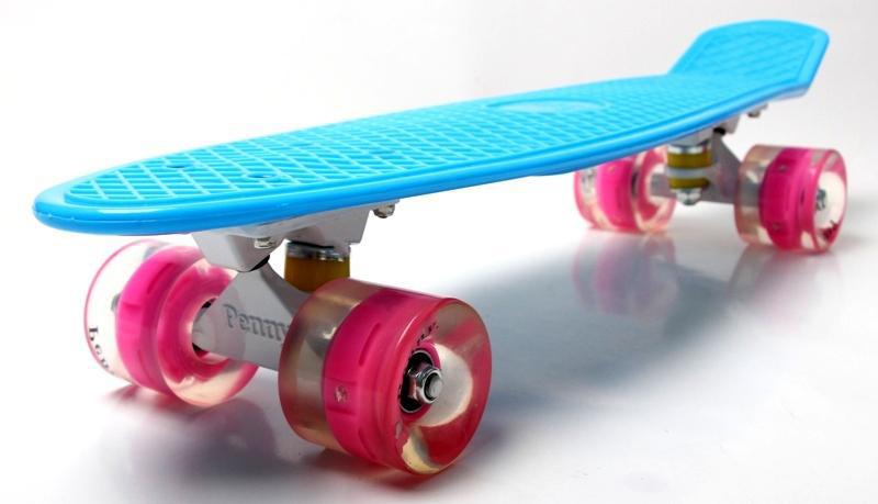 Penny Board Blue (Голубой) Гравировка Светящиеся колеса Гарантия качества Быстрая доставка