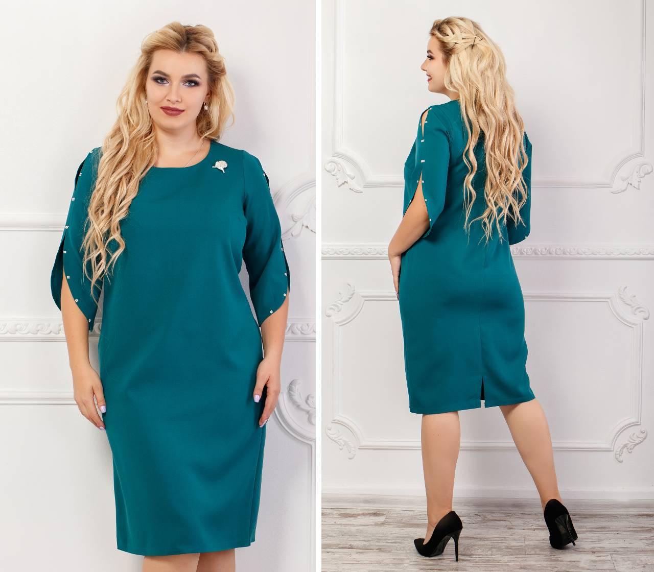 Платье женское с брошкой, креп, модель 130 батал, цвет - аквамарин, 50 размер