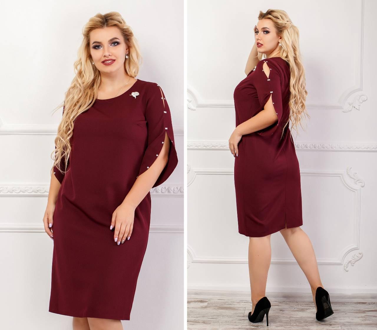 Сукня жіноча з брошкою, креп, модель 130 батал, колір - бордо