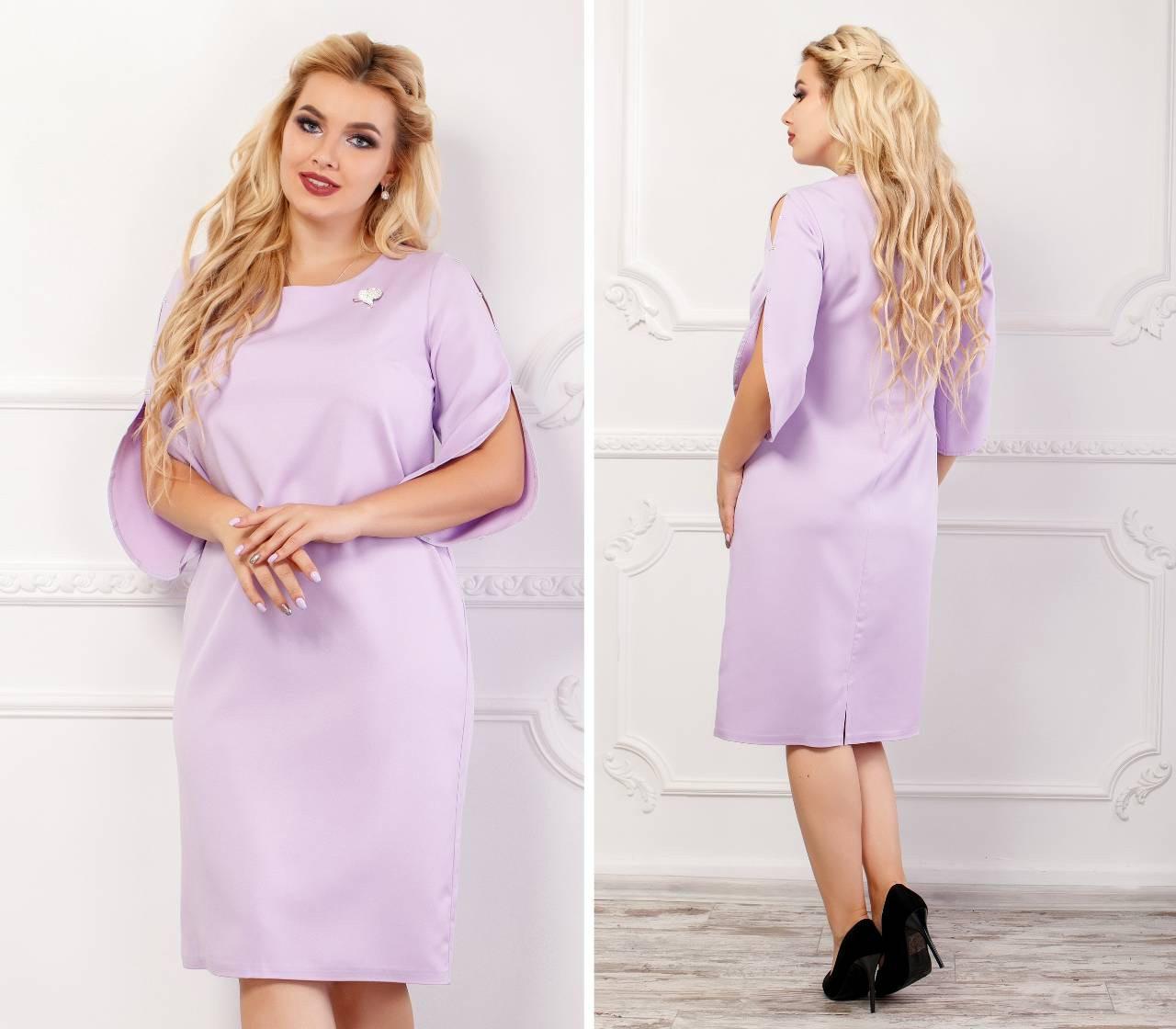 Платье женское с брошкой, креп, модель 130 батал, цвет - лиловый