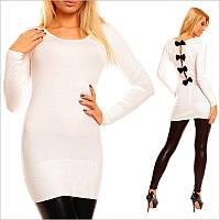 Белая туника - платье с округлым вырезом