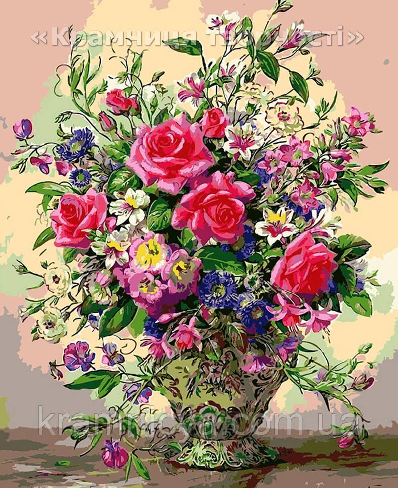 """Картина по номерам """"Садовый букет в вазе"""", VD060, 30х40см."""