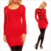 Красная туника - платье с округлым вырезом