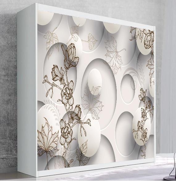Шкаф для вертикальной кровати Small Double Белый Абстракция 05