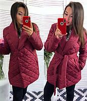 Пальто женское дутое Стильная шаль бордовое