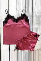 Красивая атласная пижама розовая АТ-1060