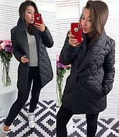 Пальто женское дутое Стильная шаль чёрное