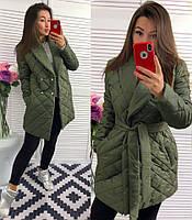 Пальто женское дутое Стильная шаль хакки