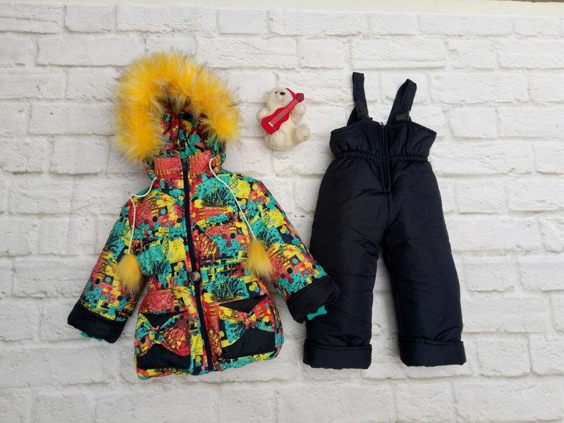 Зимние комбинезоны для девочек с мехом на капюшоне