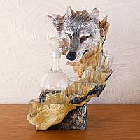 Штоф со стопками Волк. Подарок мужчине