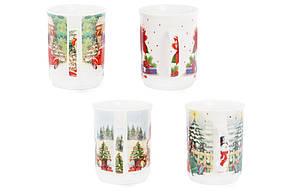 Кружка фарфоровая Винтажное Рождество 300мл 4 вида, в упаковке 12 шт. (283-103), фото 2