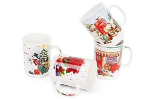 Кружка фарфоровая Винтажное Рождество 300мл 4 вида, в упаковке 12 шт. (283-103), фото 3