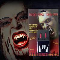 Клыки вампира, зубы Дракулы - 4 шт с капсулами крови  - Хэллоуин