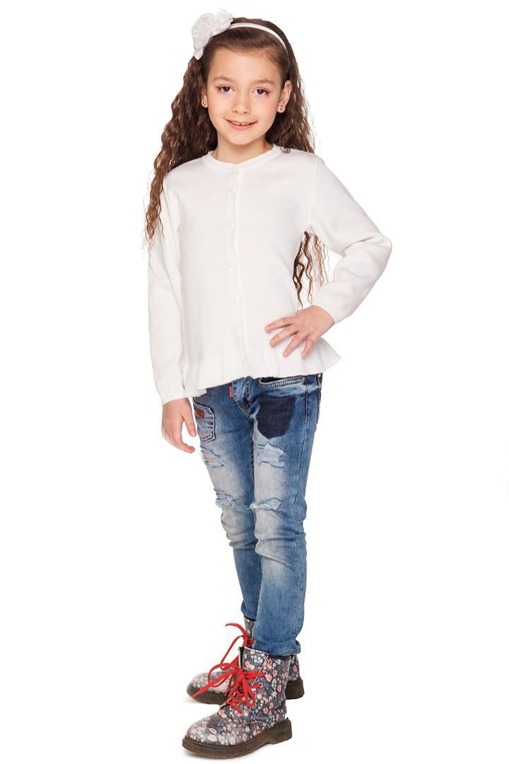Кофта для девочки вязаная на пуговицах белая
