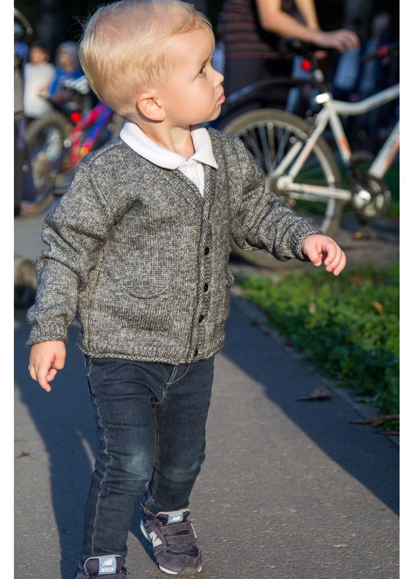 Кофта детская для маленького мальчика на пуговицах серая