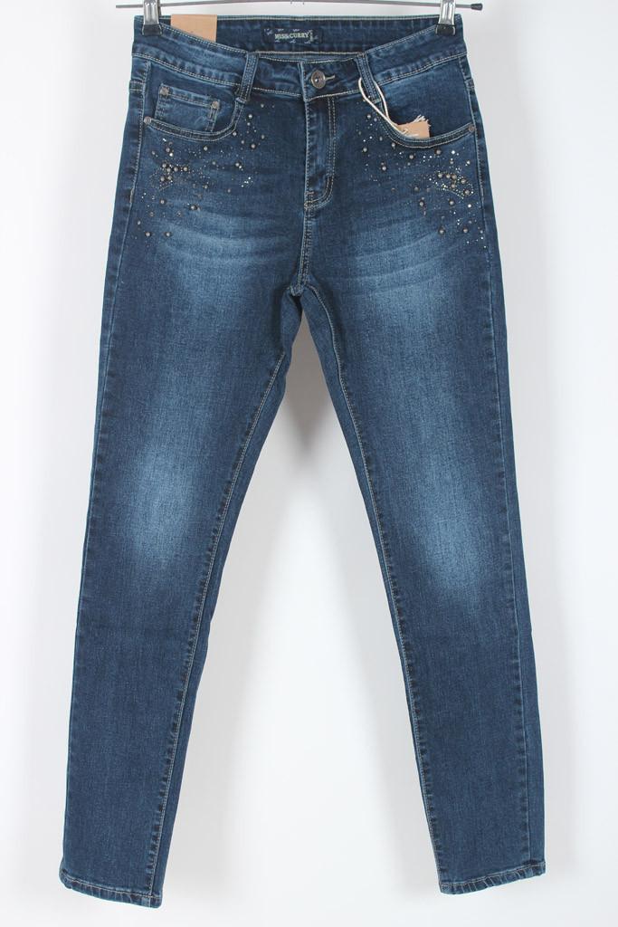 Женские стрейчевые джинсы с бусинами/ джинсы с высокой посадкой 29 и 30 размер