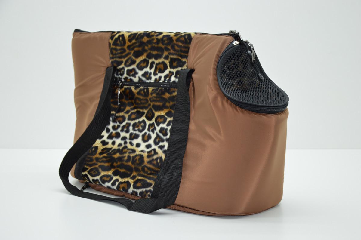 Сумка переноска котов и собак Леопард коричневая