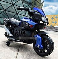 Детский Мотоцикл BMW на аккумуляторе синий, свет/звук, M 3832L-2-4, BAMBI.