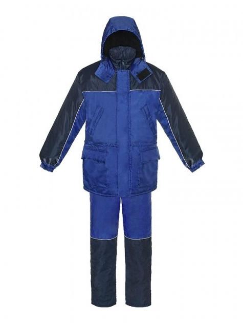 Костюм утепленный, курта и полукомбинезон сине-васильковый